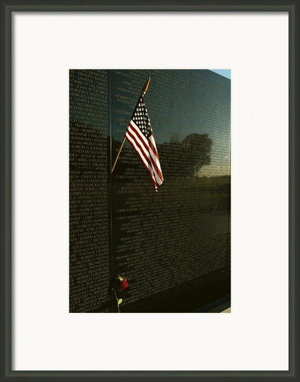 American Flag Left At The Vietnam Framed Print By Medford Taylor