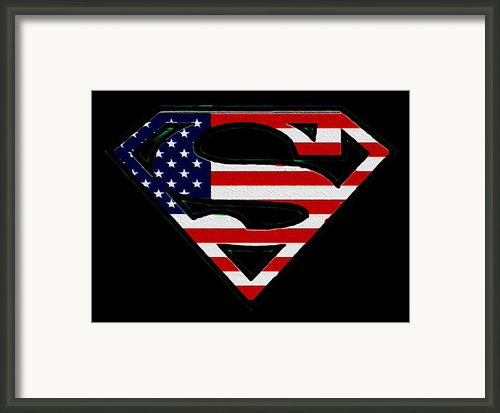 American Flag Superman Shield Framed Print By Bill Cannon