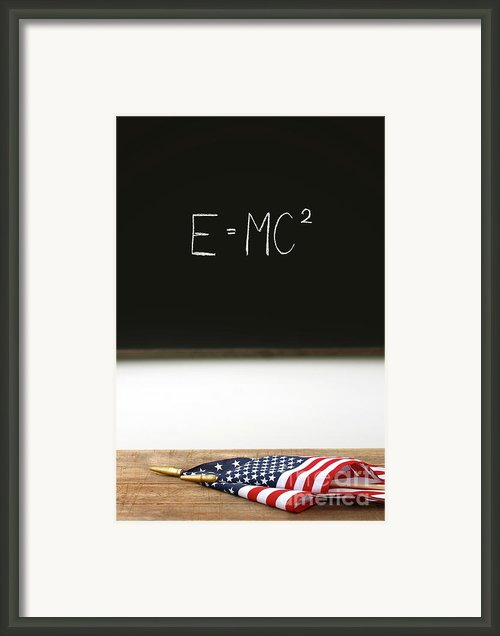 American Flags Laying On School Desk Framed Print By Sandra Cunningham