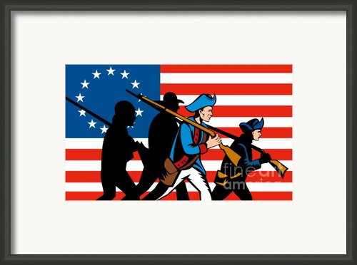 American Revolutionary Soldier Marching Framed Print By Aloysius Patrimonio