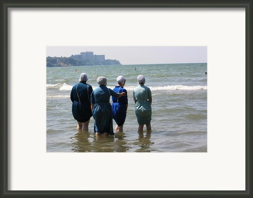 Amish Girls In The Surf Framed Print By Mb Matthews