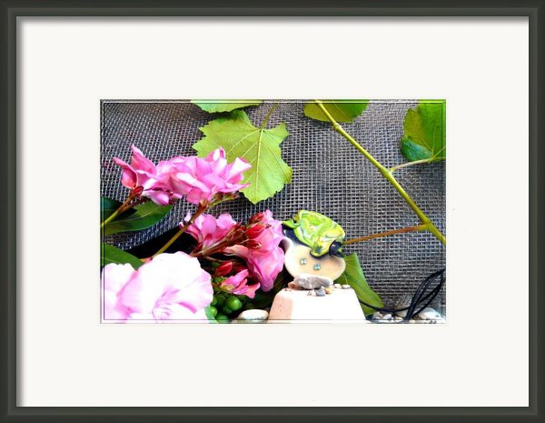 Among Leaves And Flowers Framed Print By Chara Giakoumaki