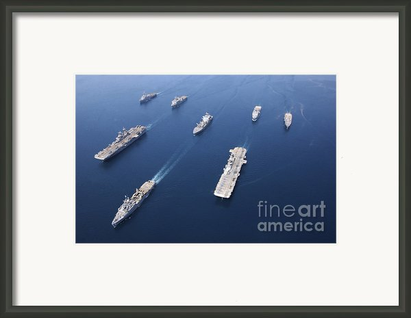 Amphibious Task Force-west In Formation Framed Print By Stocktrek Images