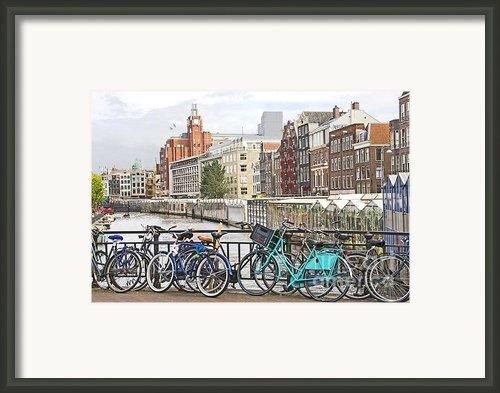 Amsterdam Canal And Bikes Framed Print By Giancarlo Liguori