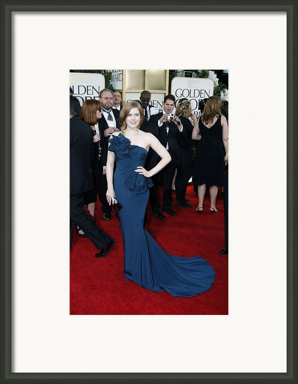 Amy Adams Wearing A Marchesa Gown Framed Print By Everett