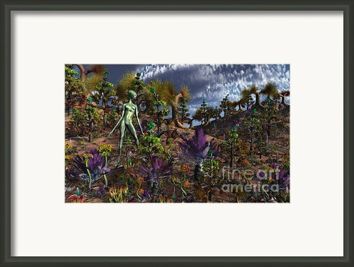 An Alien Being Surveys The Colorful Framed Print By Mark Stevenson