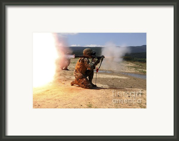 An Assaultman Fires A Rocket Propelled Framed Print By Stocktrek Images