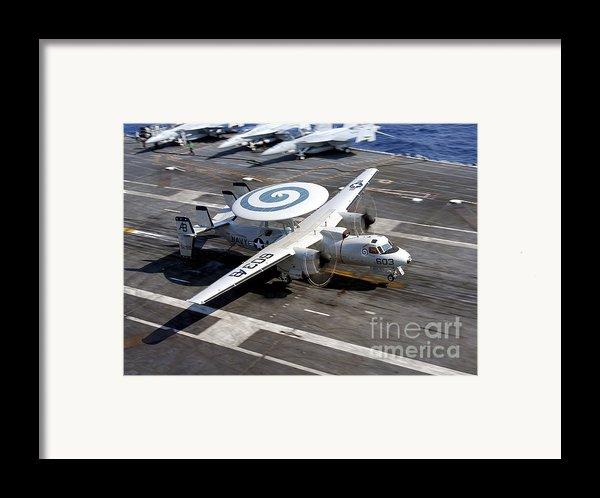 An E-2c Hawkeye Lands On The Flight Framed Print By Stocktrek Images