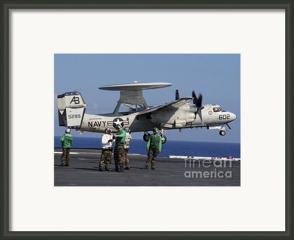 An  E-2c Hawkeye Launches From Aboard Framed Print By Stocktrek Images