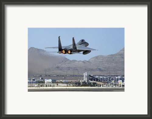 An F-15 Eagle Taking Off For A Red Flag Framed Print By Stocktrek Images