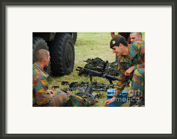 An Infantry Unit Of The Belgian Army Framed Print By Luc De Jaeger