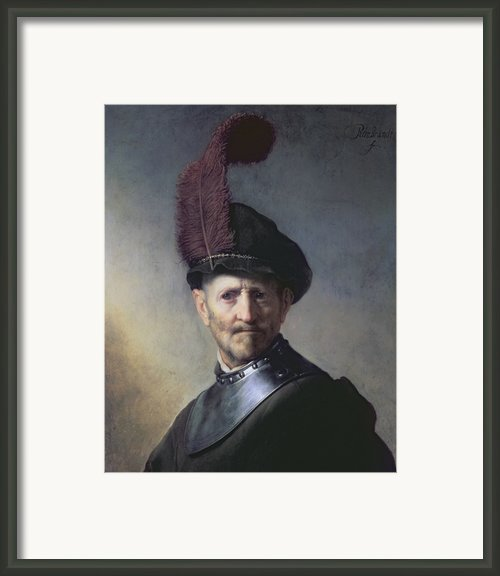 An Old Man In Military Costume Framed Print By Rembrandt