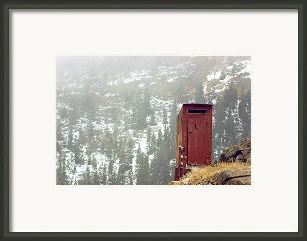 An Outhouse Perches On A Hillside Framed Print By Rex A. Stucky