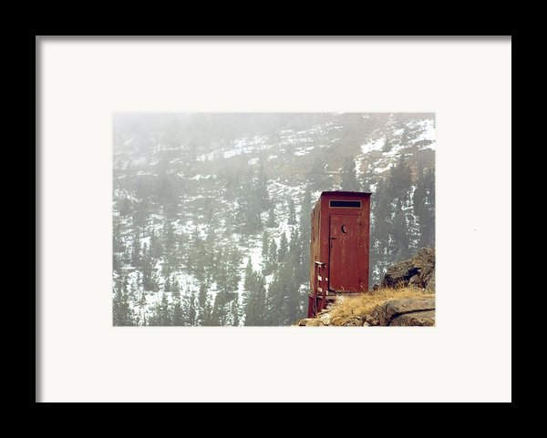 An Outhouse Perches On A Hillside Framed Print By Rex A. Stucky