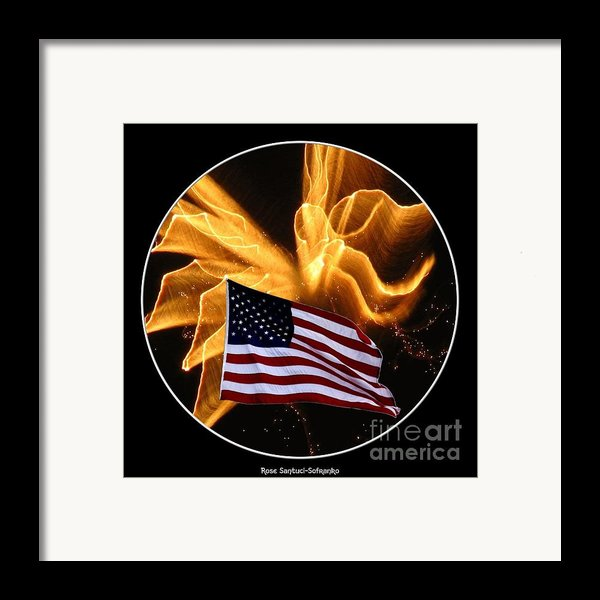 Angel Fireworks And American Flag Framed Print By Rose Santuci-sofranko