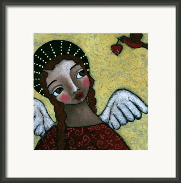 Angel With Bird Of Peace Framed Print By Julie-ann Bowden