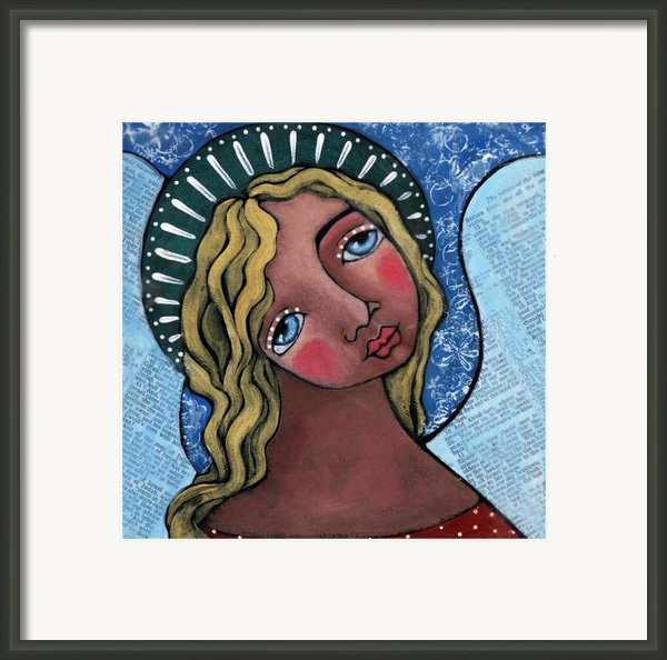 Angel With Green Halo Framed Print By Julie-ann Bowden