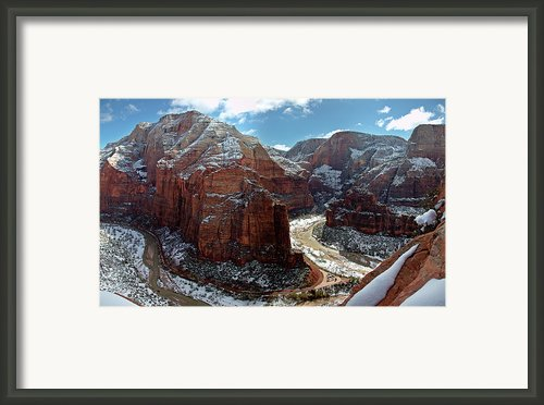 Angels Landing View From Top Framed Print By Daniel Osterkamp
