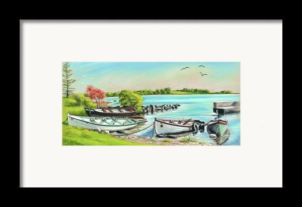 Annadownpier On Lough Corrib Framed Print By Vanda Luddy