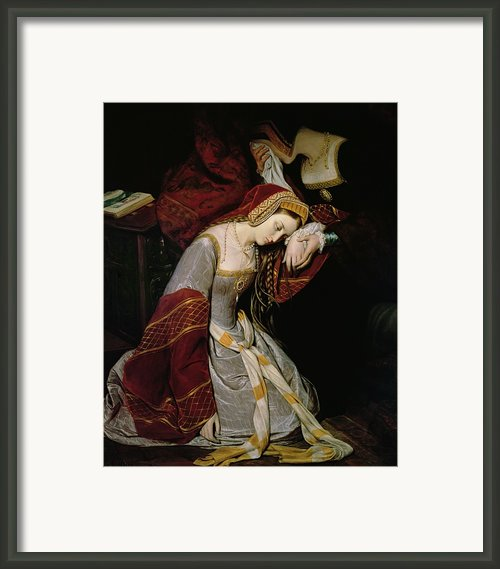 Anne Boleyn In The Tower Framed Print By Edouard Cibot