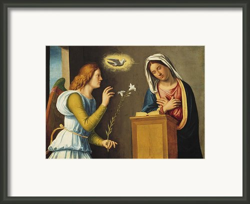 Annunciation To The Virgin Framed Print By Giovanni Battista Cima Da Conegliano