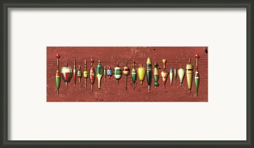 Antique Bobbers Red  Framed Print By Jq Licensing