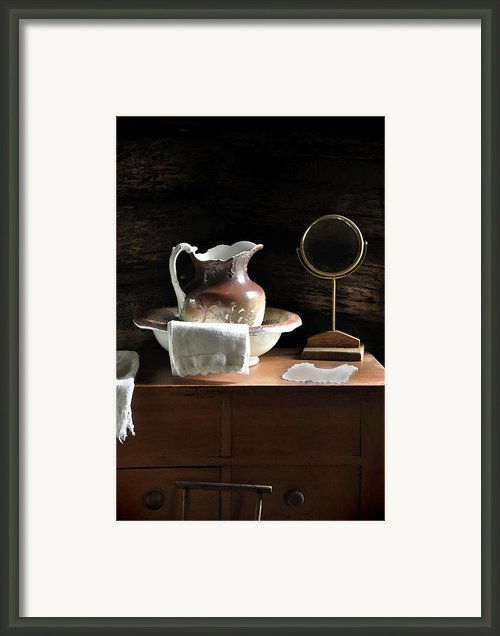 Antique Water Pitcher On Bureau Framed Print By Rebecca Brittain