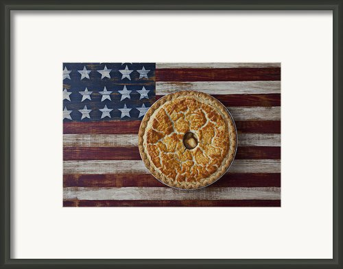 Apple Pie On Folk Art  American Flag Framed Print By Garry Gay