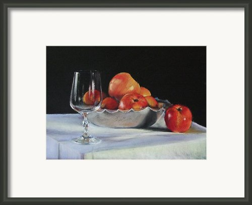 Apples And Wineglass Framed Print By Diane Breuer