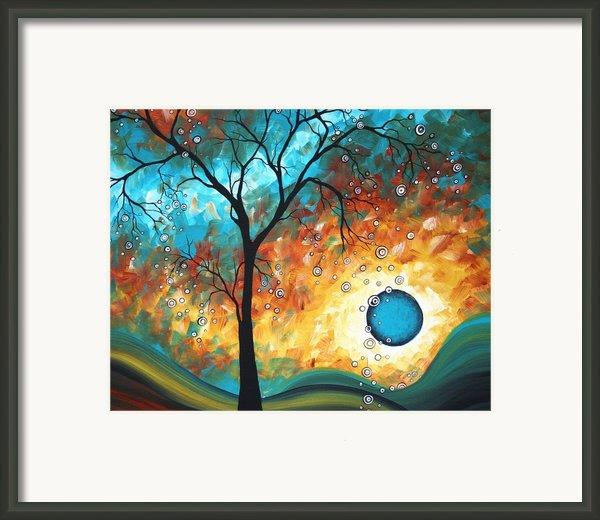 Aqua Burn By Madart Framed Print By Megan Duncanson