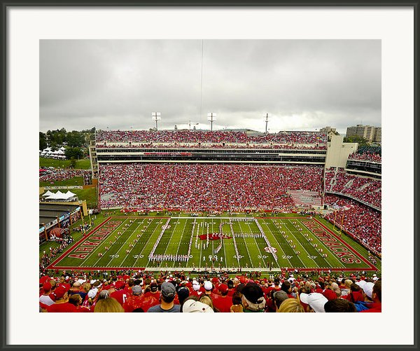 Arkansas Marching Band Forms U-of-a At Razorback Stadium Framed Print By Replay Photos