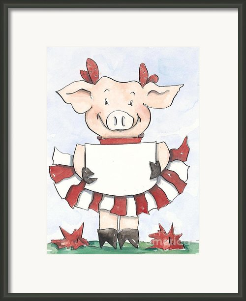 Arkansas Razorback Cheer Piggy Framed Print By Annie Laurie