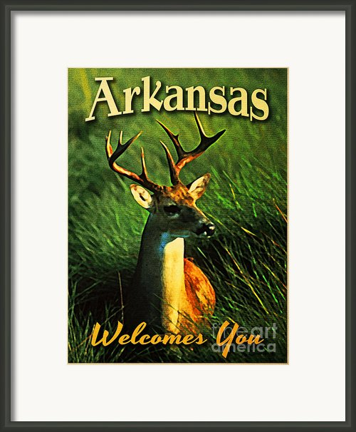Arkansas White Tailed Deer Framed Print By Vintage Poster Designs