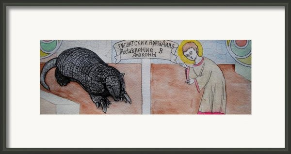 Armadillo Ordaining Deacon Framed Print By Josean Rivera