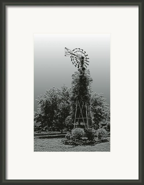 Artistic Vine Covered Windmill Framed Print By Linda Phelps