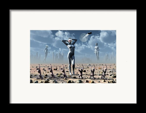 Artists Concept Of Mankinds Reliance Framed Print By Mark Stevenson