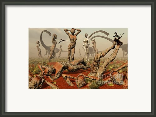 Artists Concept Of Mutated Dinosaurs Framed Print By Mark Stevenson