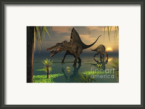 Artists Concept Of Spinosaurus Framed Print By Mark Stevenson