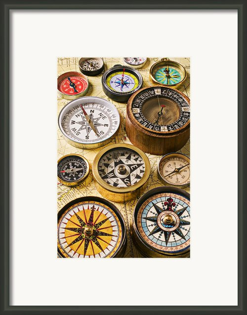 Assorted Compasses Framed Print By Garry Gay