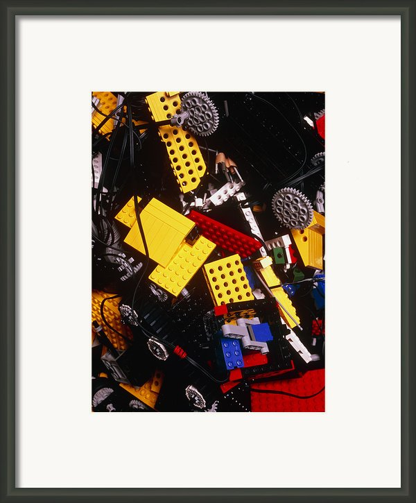 Assorted Lego Bricks And Cogs. Framed Print By Volker Steger