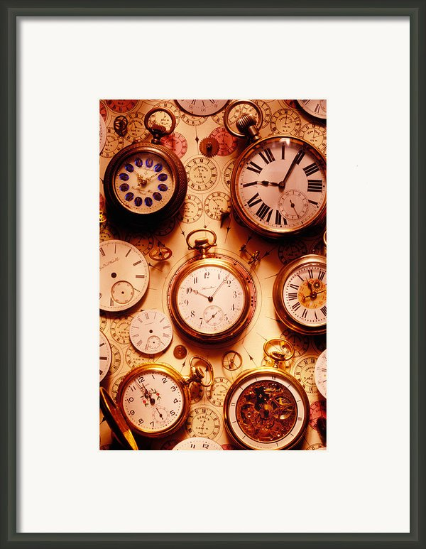 Assorted Watches On Time Chart Framed Print By Garry Gay