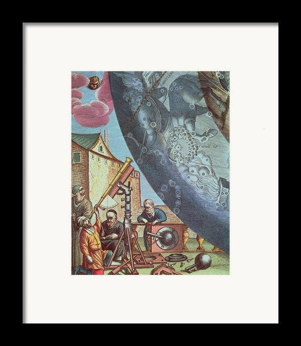 Astronomers Looking Through A Telescope Framed Print By Andreas Cellarius