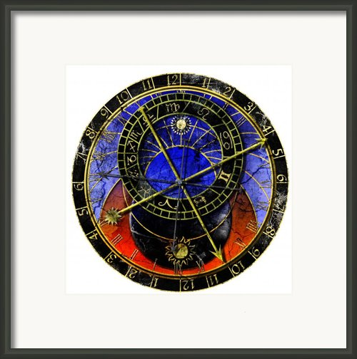 Astronomical Clock In Grunge Style Framed Print By Michal Boubin