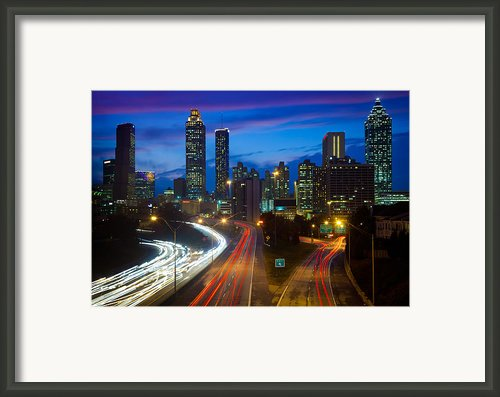 Atlanta Downtown By Night Framed Print By Inge Johnsson