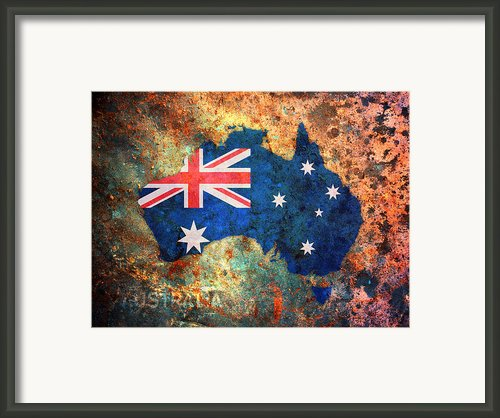 Australia Flag Map Framed Print By Michael Tompsett