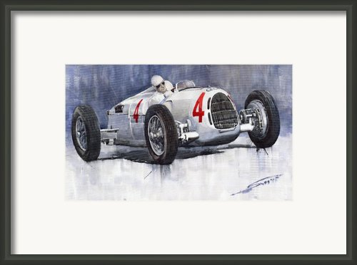 Auto Union C Type 1937 Monaco Gp Hans Stuck Framed Print By Yuriy  Shevchuk