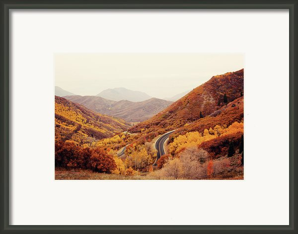 Autumn Colored Trees Along Mountain Road Framed Print By Www.julia-wade.com