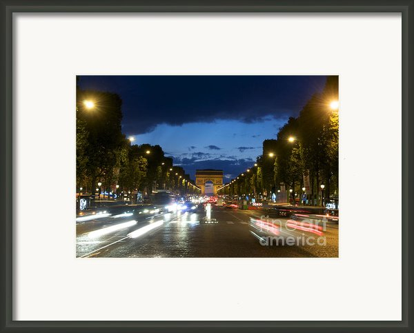 Avenue Des Champs Elysees. Paris Framed Print By Bernard Jaubert