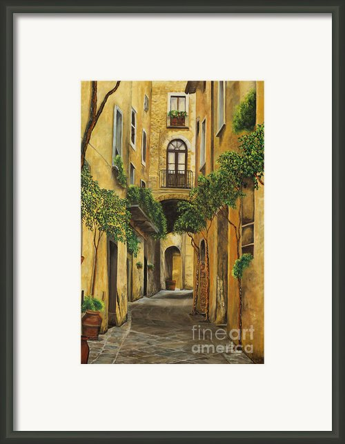 Back Street In Italy Framed Print By Charlotte Blanchard