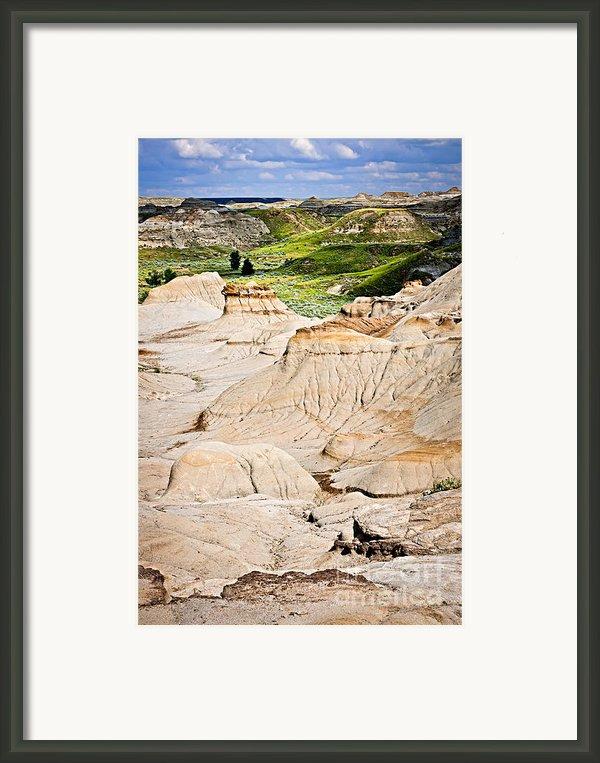 Badlands In Alberta Framed Print By Elena Elisseeva
